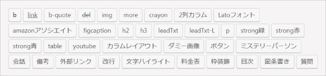 私が『AddQuicktag』に登録しているHTMLタグ