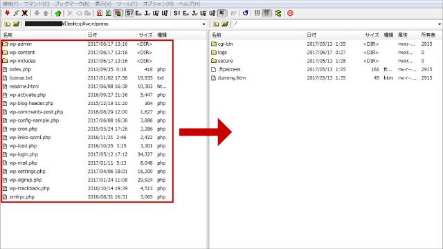 FTPソフトでWordPressのデータをアップロード