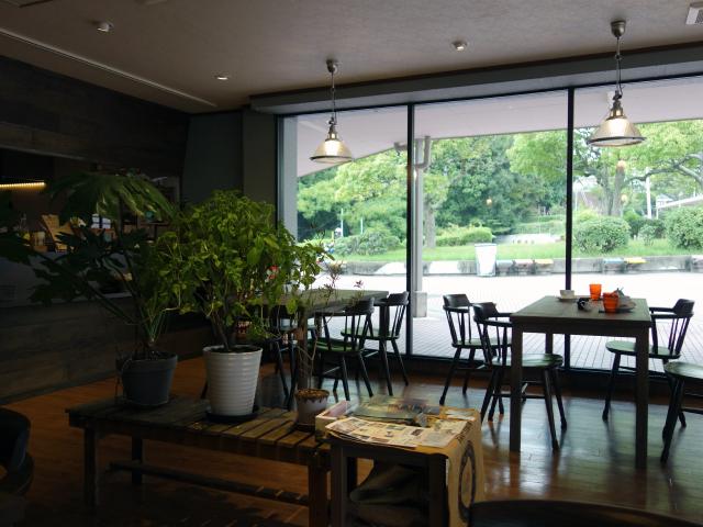 PURPOSE CAFEの内装は木目調のインテリアに観葉植物が多く飾られている癒し空間