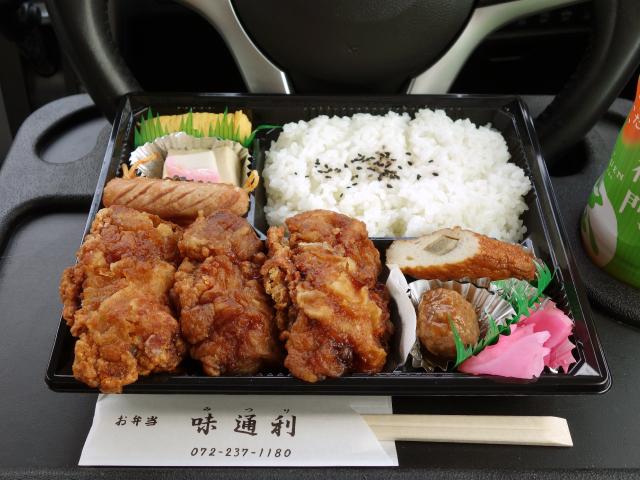 味通利の唐揚げ弁当(640円)